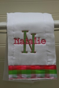 Monogrammed Madras Plaid Burp Cloth